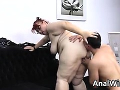 Fat Old Woman Licked And Fucked In The Ass