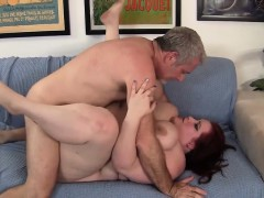 Redheaded Bbw Turns Him On And Gives An Awesome Blowjob.