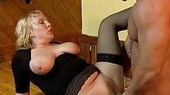 German MILF Large Saggy Tits Stockings